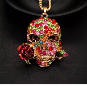 Colorful Rhinestone Skull with rose Necklace